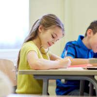 Children doing assessment