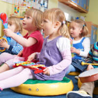 Group Of Pre School Children Taking Part In Music Lesson 2020 06 05