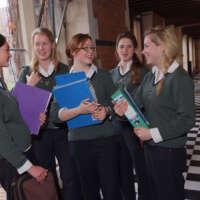Fave Girls in corridor at Cheltenham 2020 05 14